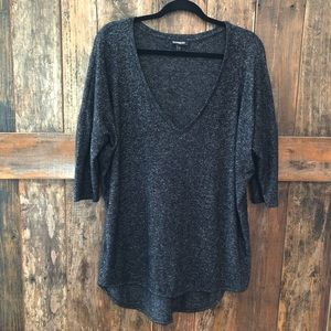 Express, L, Gray V-Neck Light Sweater